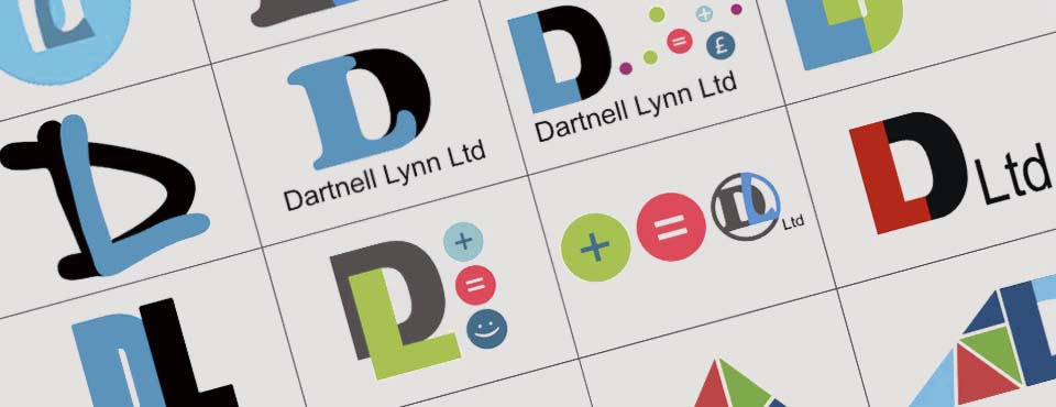 First stage logo design sheet for Dartnell Lynn Ltd